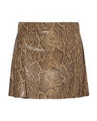 Minifalda de cuero con print de serpiente marrón
