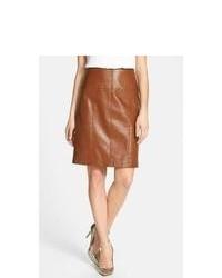 Minifalda de cuero marrón