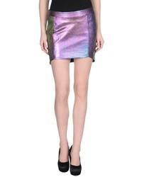 Minifalda de cuero morado
