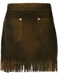 Minifalda de cuero сon flecos en marrón oscuro de Diesel