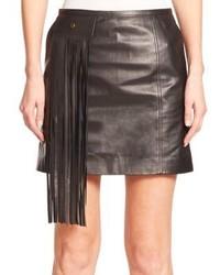 Minifalda de cuero сon flecos negra
