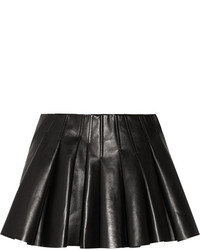 Minifalda de cuero plisada negra