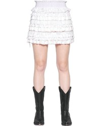 Minifalda de encaje con volante blanca