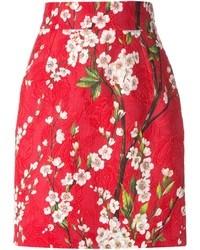 Minifalda de Flores Roja de Dolce & Gabbana