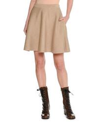 Minifalda de lana marrón claro