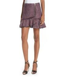 Minifalda de tweed burdeos