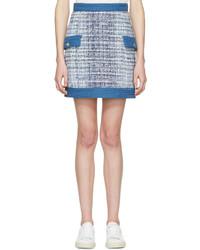 Minifalda de tweed celeste