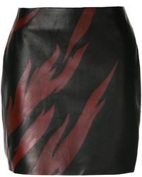 Minifalda estampada en marrón oscuro de Saint Laurent