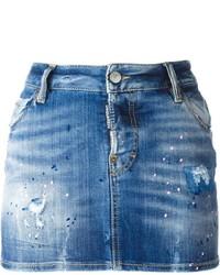 Minifalda vaquera desgastada azul de Dsquared2