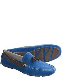 Mocasín con borlas de ante azul