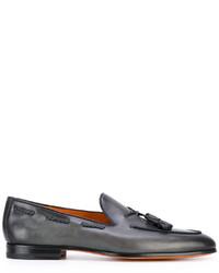 Mocasín con borlas de cuero gris de Santoni