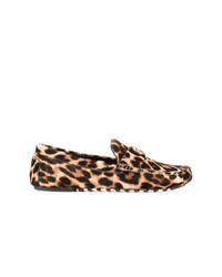 Mocasín de conducción de ante de leopardo marrón claro de Tory Burch