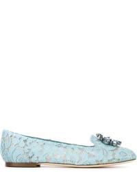 Mocasín de cuero celestes de Dolce & Gabbana