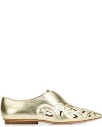 Mocasín de cuero dorados de Derek Lam