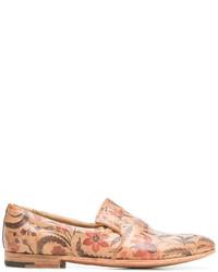 Mocasín de cuero estampado marrón claro de Premiata