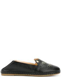 Mocasín de cuero negros de Charlotte Olympia