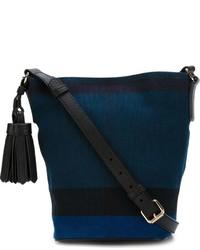 Mochila con Cordón Azul Marino de Burberry