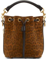 Mochila con cordón de ante de leopardo marrón