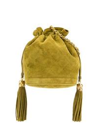 Mochila con cordón de ante mostaza de Chanel Vintage