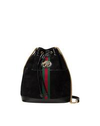 Mochila con cordón de ante negra de Gucci