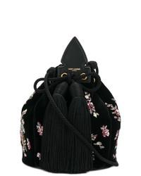 Mochila con cordón de ante negra de Saint Laurent