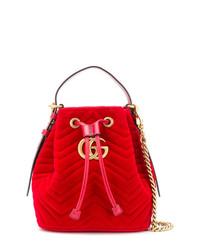 Mochila con cordón de ante roja de Gucci