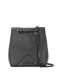 Mochila con cordón de cuero acolchada en gris oscuro de Karl Lagerfeld