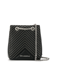 Mochila con cordón de cuero acolchada negra de Karl Lagerfeld
