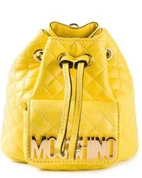 Mochila con Cordón de Cuero Amarilla de Moschino