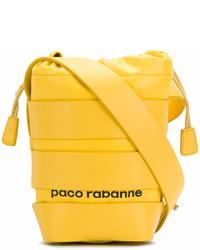 Mochila con cordón de cuero amarilla de Paco Rabanne