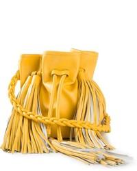 Mochila con Cordón de Cuero Amarilla de Sara Battaglia