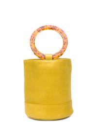 Mochila con cordón de cuero amarilla de Simon Miller