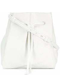 Mochila con cordón de cuero blanca de Jil Sander Navy
