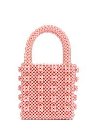 Mochila con cordón de cuero con adornos rosada de Shrimps