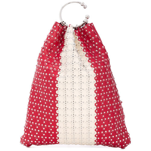 Mochila con cordón de cuero con tachuelas roja de RED Valentino