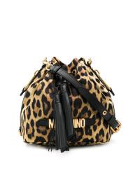 Mochila con cordón de cuero de leopardo marrón de Moschino