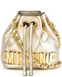 Mochila con cordón de cuero dorada de Moschino