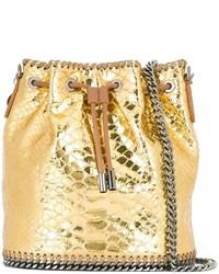Mochila con cordón de cuero dorada de Stella McCartney