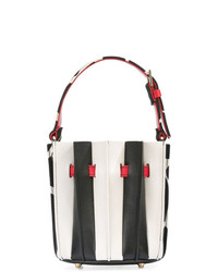 Mochila con cordón de cuero en blanco y negro de Sara Battaglia