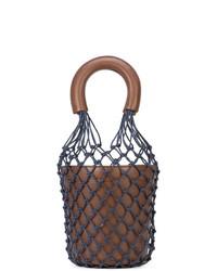 Mochila con cordón de cuero en marrón oscuro de Staud