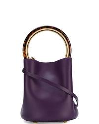 Mochila con cordón de cuero en violeta de Marni