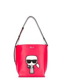 Mochila con cordón de cuero estampada roja de Karl Lagerfeld