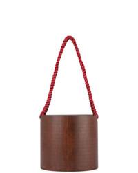 Mochila con cordón de cuero marrón de 711