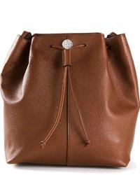 Mochila con cordón de cuero marrón de The Row