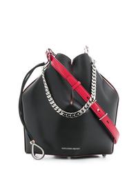 Mochila con cordón de cuero negra de Alexander McQueen