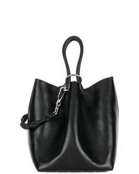 Mochila con cordón de cuero negra de Alexander Wang