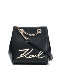 Mochila con cordón de cuero negra de Karl Lagerfeld