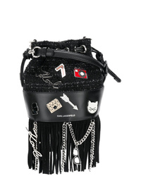 Mochila con cordón de cuero сon flecos negra de Karl Lagerfeld