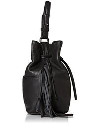 Mochila con cordón de cuero сon flecos negra de Kenneth Cole New York