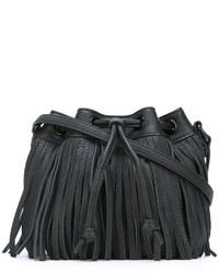 Mochila con cordón de cuero сon flecos negra de Rebecca Minkoff